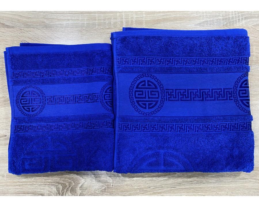 Набор махровых полотенец 50х90+70х140 GM TEXTILE Узбекистан Greek 450 г/м2 синий