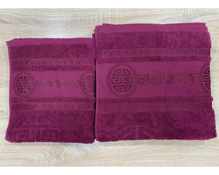 Набор махровых полотенец 50х90+70х140 GM TEXTILE Узбекистан Greek 450 г/м2 бордовый