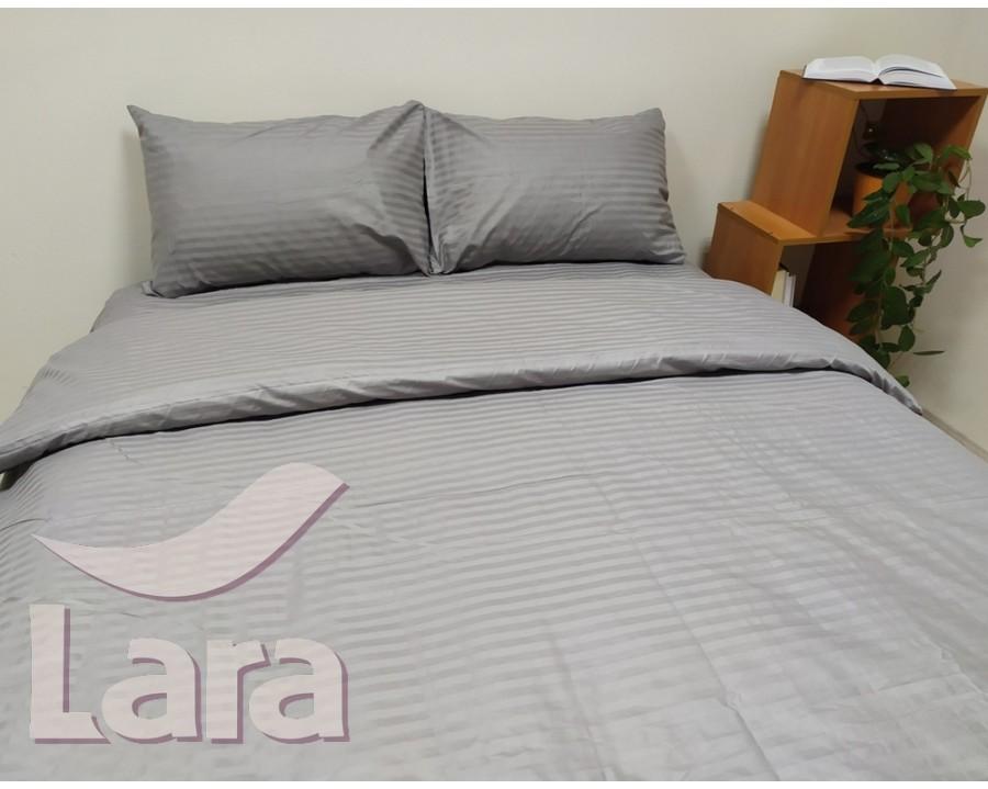 Постельное белье LARA сатин-страйп Gray d13042p2 полуторное