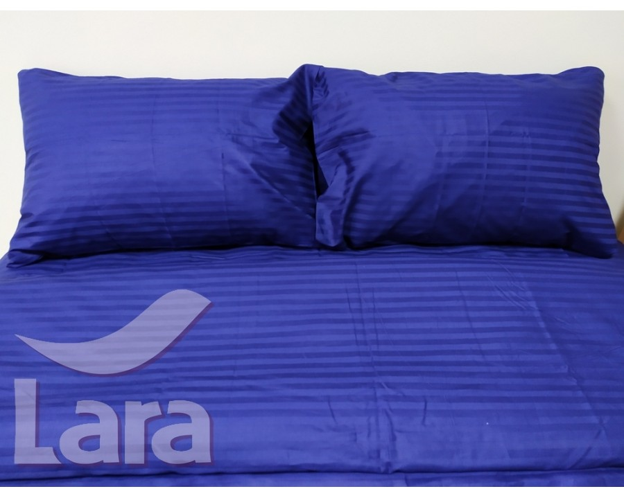 Постельное белье LARA сатин-страйп Blue d13004p2 полуторное