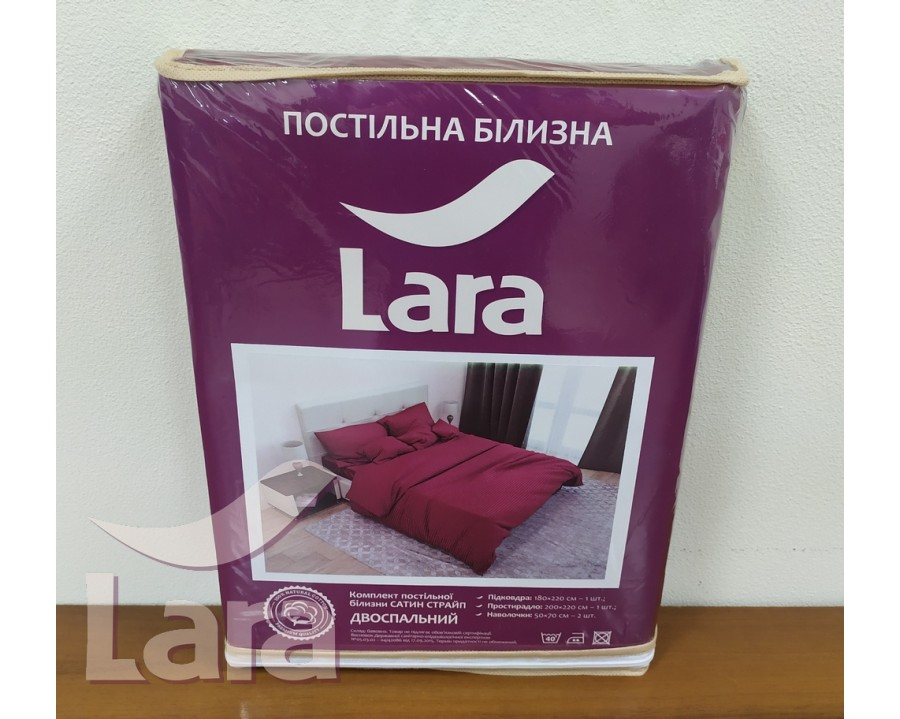 Постельное белье LARA сатин-страйп Bordo d13035e2 евро
