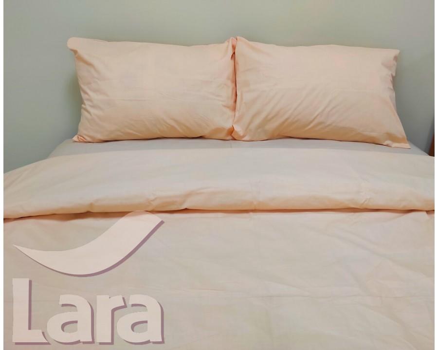 Постільна білизна LARA бязь d11194d Light peach двоспальна
