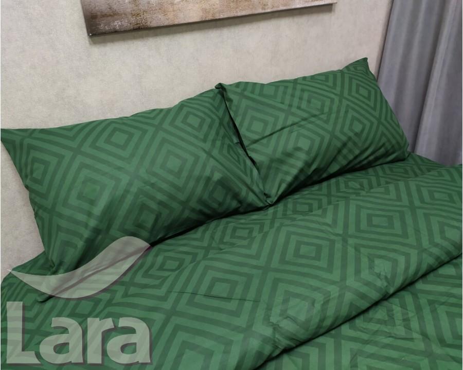 Постельное белье LARA бязь d11188p Ромб Green полуторное