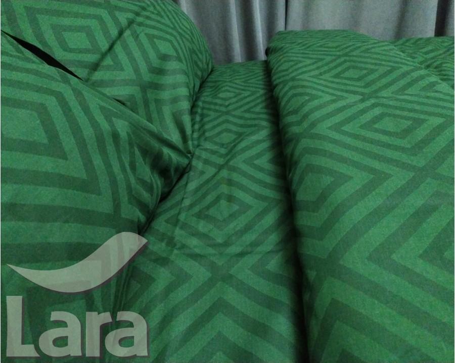 Постільна білизна LARA бязь d11188d Ромб Green двоспальна