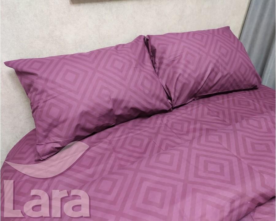 Постільна білизна LARA бязь d11187d Ромб Marsala двоспальна