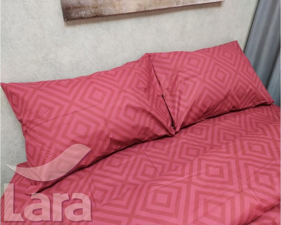 Постельное белье LARA бязь d11185e Ромб Red евро