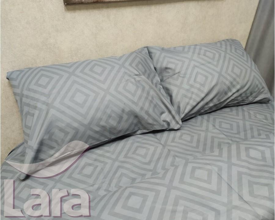 Постельное белье LARA бязь d11183d Ромб Grey двуспальное