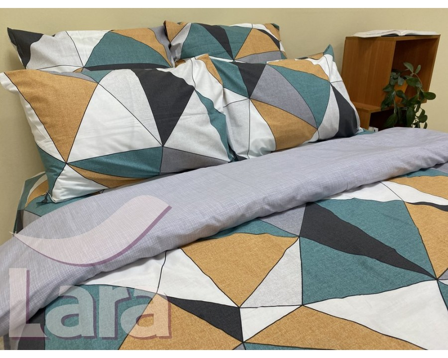 Постельное белье LARA ранфорс d12028d двуспальное 4 наволочки в комплекте