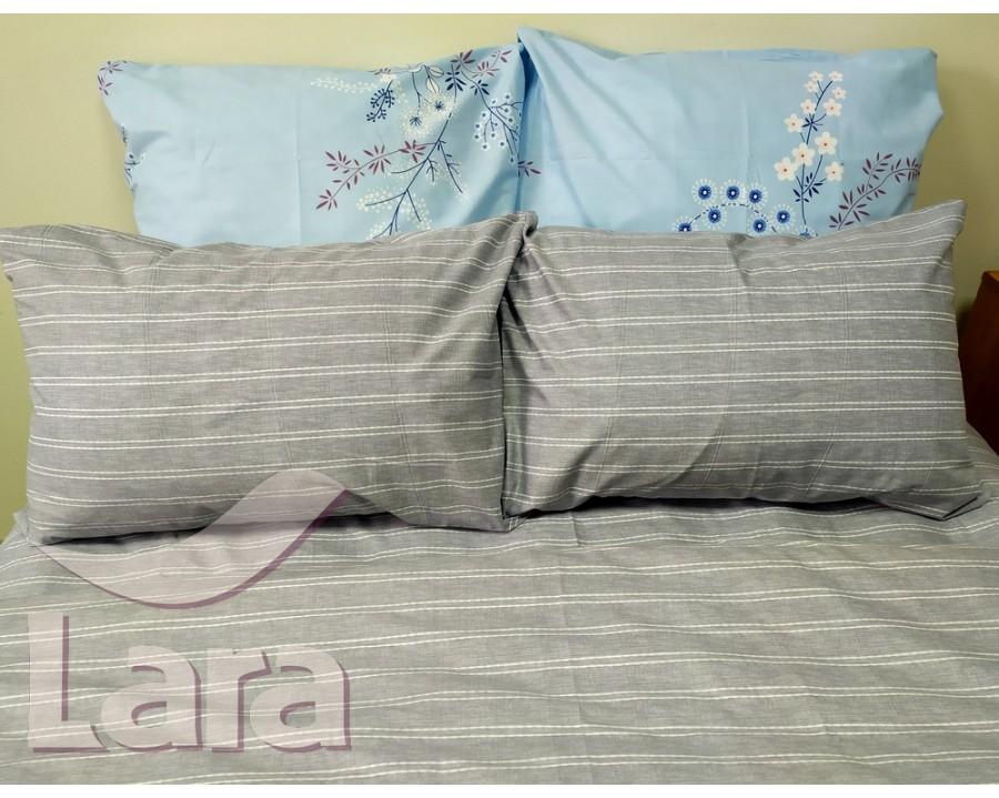 Постельное белье LARA ранфорс d12010d двуспальное 4 наволочки в комплекте